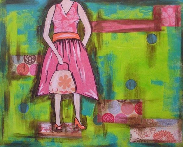 multi-media collage girl painting
