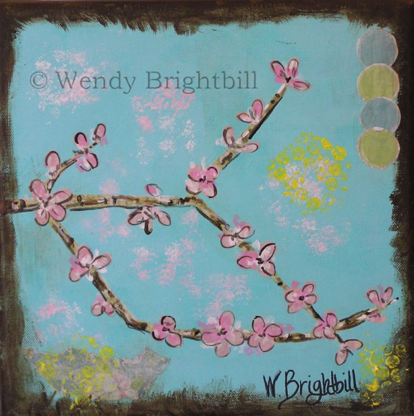 multi-media collage cherry blossom painting